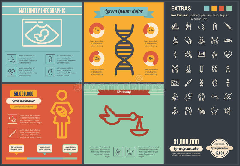 Maternity flat design Infographic Template. Maternity infographic template and elements. The template includes illustrations of hipster men and huge awesome set royalty free illustration