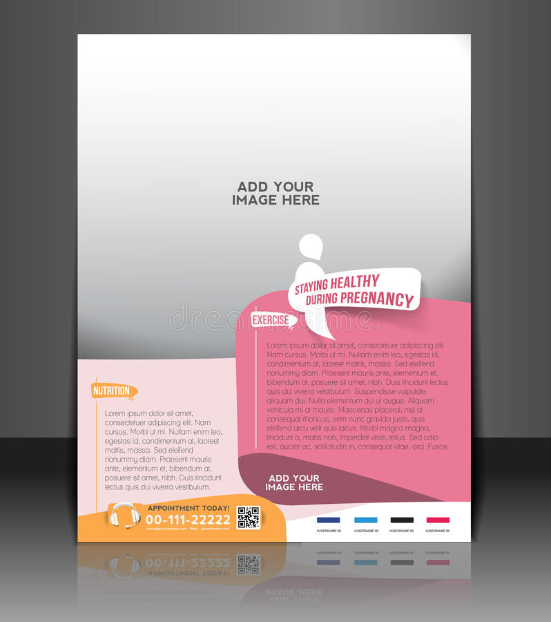 Maternity Hospital Flyer. & Poster Template Design stock illustration