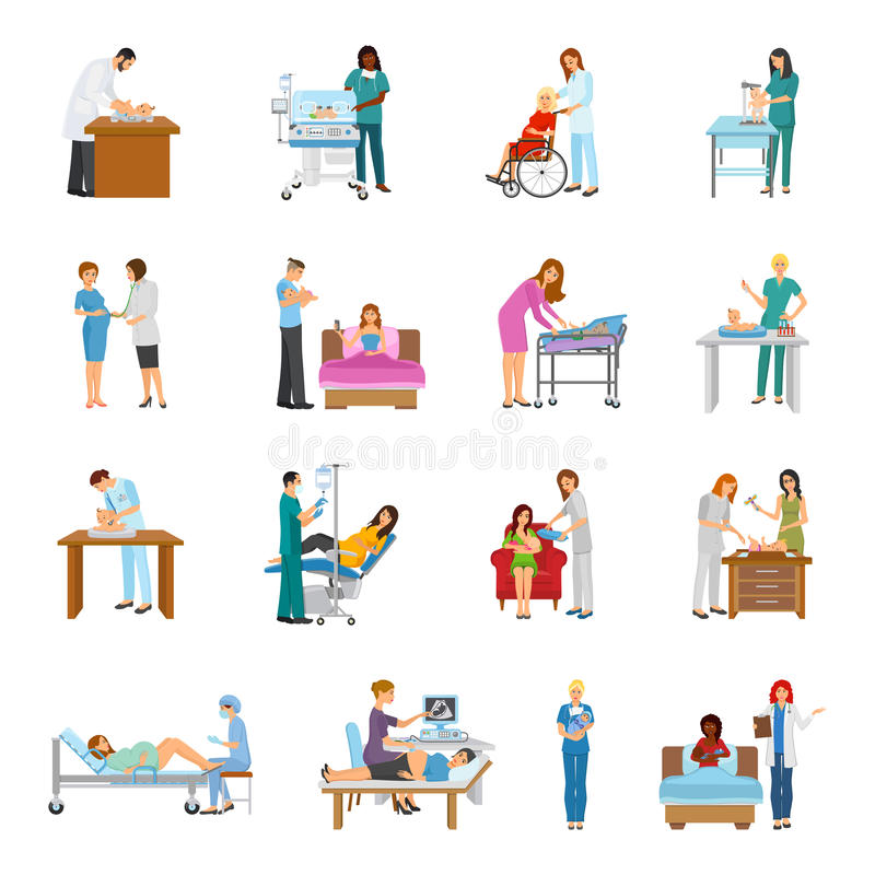 Maternity Hospital Nursery Set. Maternity hospital newborn baby nursery birth attendant and pregnant women human characters collection of isolated images vector royalty free illustration