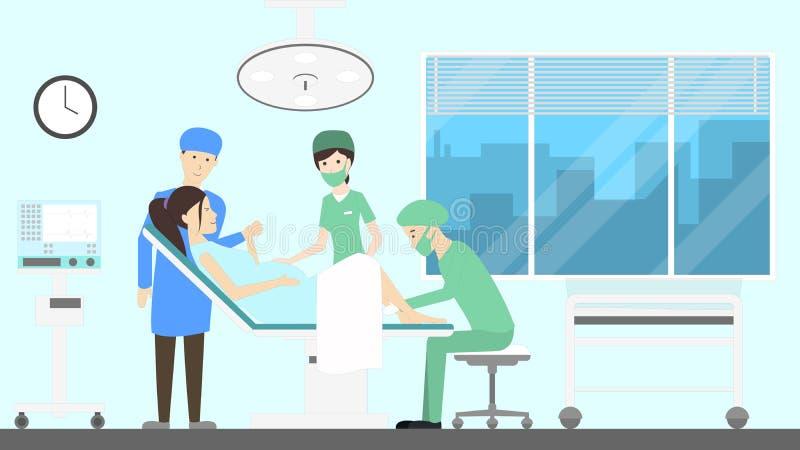 Maternity hospital ward. Woman gives birth to a baby stock illustration