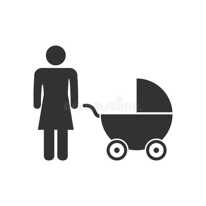 Maternity icon flat. Maternity. Black Icon Flat on white background stock illustration