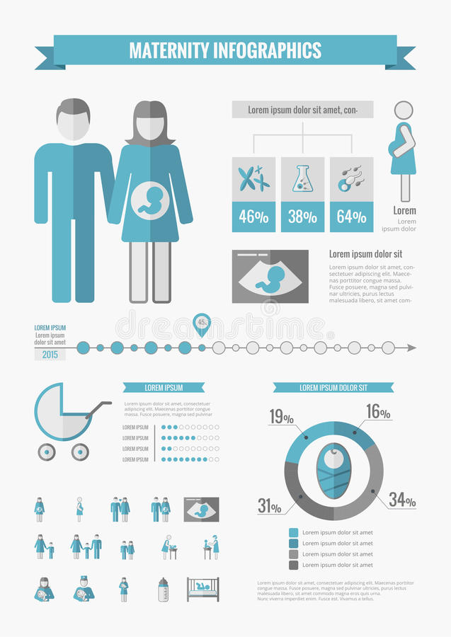 Maternity Infographic Elements. Maternity Infographic Template. Vector Customizable Elements vector illustration
