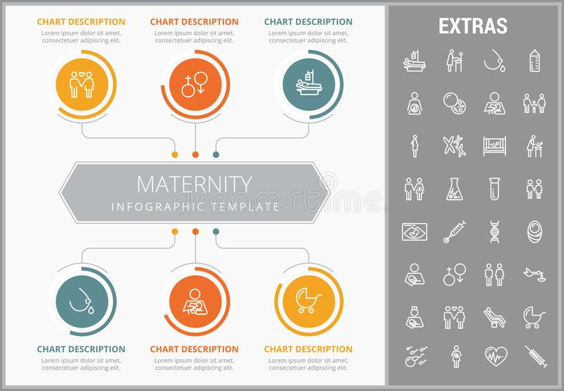 Maternity infographic template, elements and icons. Infograph includes customizable graphs, charts, line icon set with pregnant woman, breast feeding, child vector illustration