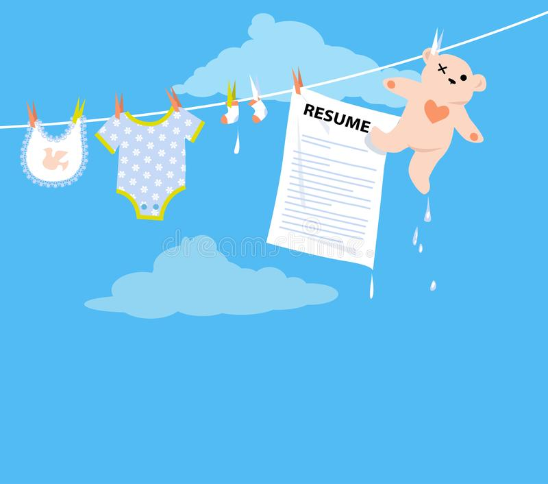 Maternity leave. Job applicant resume hanging on a clothesline together with baby clothing as a metaphor for a maternity leave, EPS 8 vector illustration stock illustration