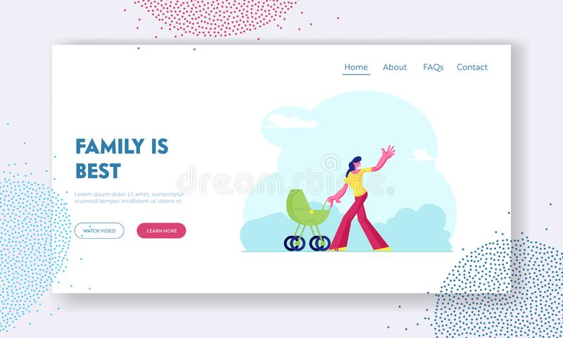 Maternity Love Family Website Landing Page. Happy Woman Walk with Child Carriage in Park. Mother Pushing Baby Stroller vector illustration
