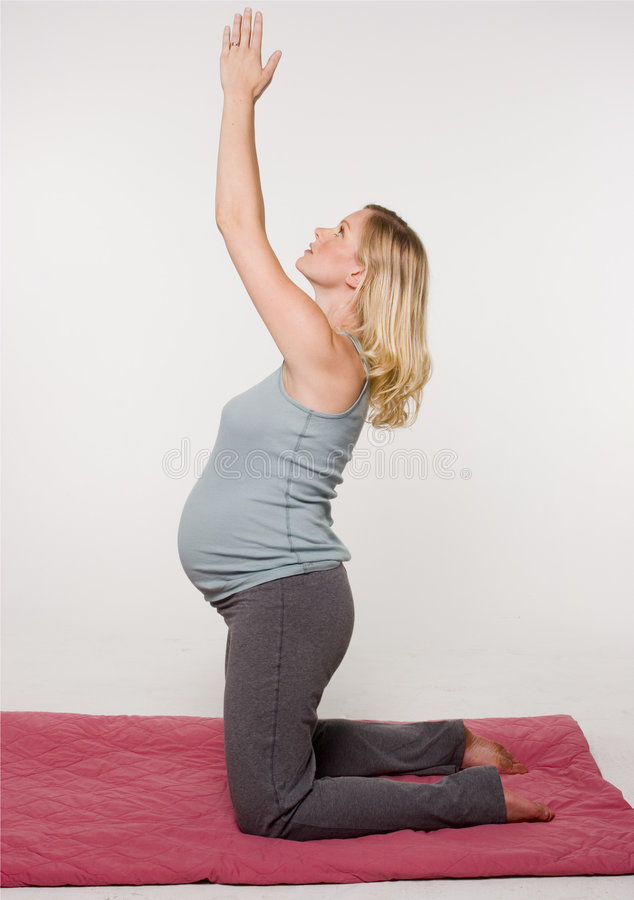 Maternity portraits. Fitness portrait of a pregnant blond female doing yoga royalty free stock photos