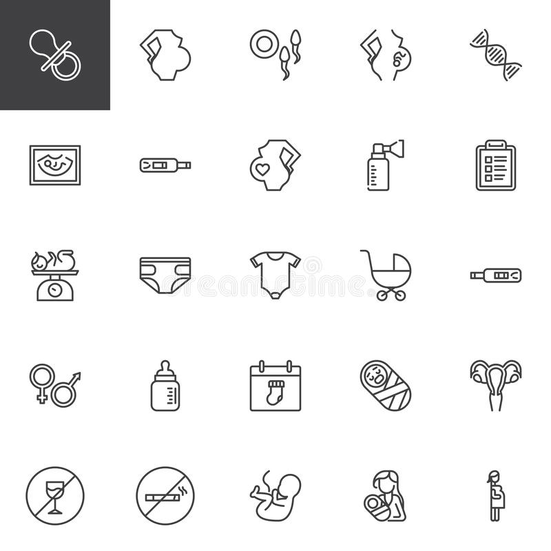 Maternity and pregnancy line icons set. Linear style symbols collection, outline signs pack. vector graphics. Set includes icons as Pacifier, Pregnant woman vector illustration
