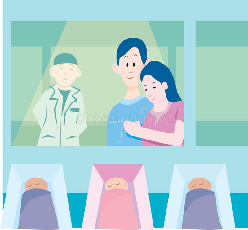 Maternity Ward. Proud parents look at their newborn baby at the maternity ward stock illustration
