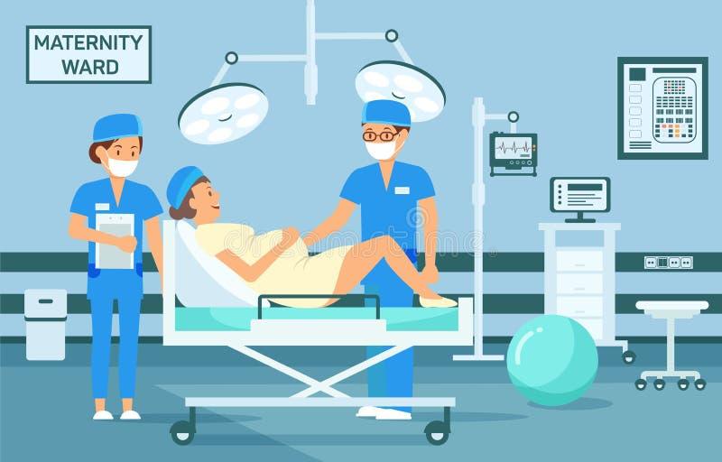 Maternity Ward. Vector Flat Illustration. Maternity Ward Concept. Doctor examine Pregnant Woman. Maternity Hospital Ward. Childbirth at Clinic Set. Woman in vector illustration