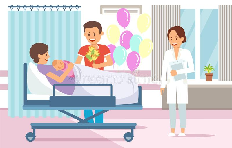 Maternity Ward. Vector Flat Illustration. Maternity Ward Concept. Maternity Hospital Ward. Childbirth at Clinic Set. Woman in Maternity Home. Medical Health vector illustration