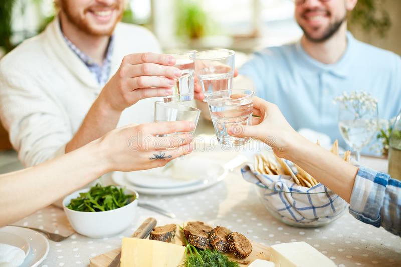 Mates gathering and celebrating holiday royalty free stock image