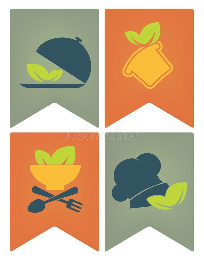Matflaggor, etiketter och emblem stock illustrationer
