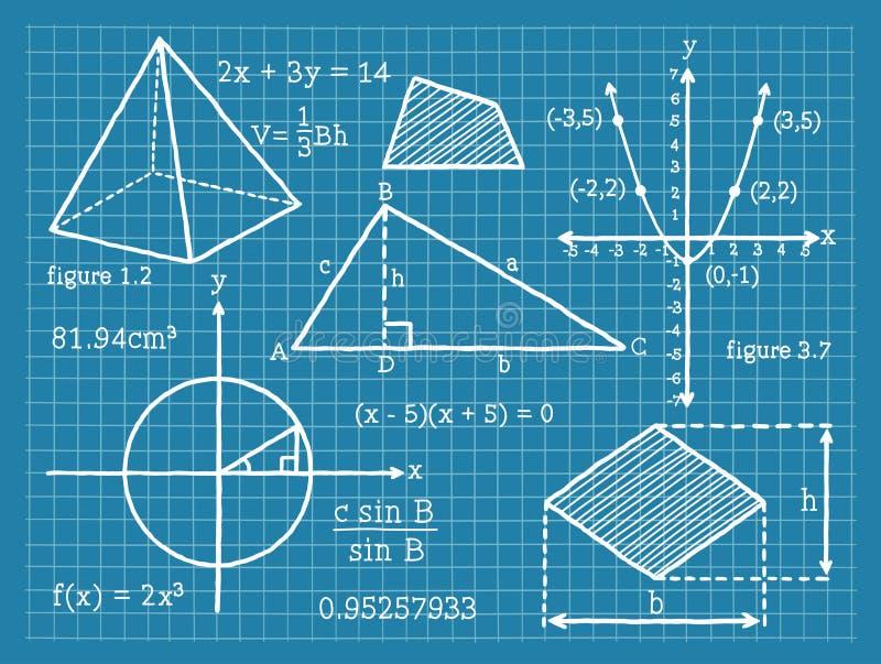 Mathématiques, algèbre, la géométrie, trigonométrie illustration stock