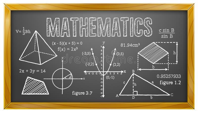 Mathématiques, algèbre, la géométrie, trigonométrie, tableau noir illustration libre de droits