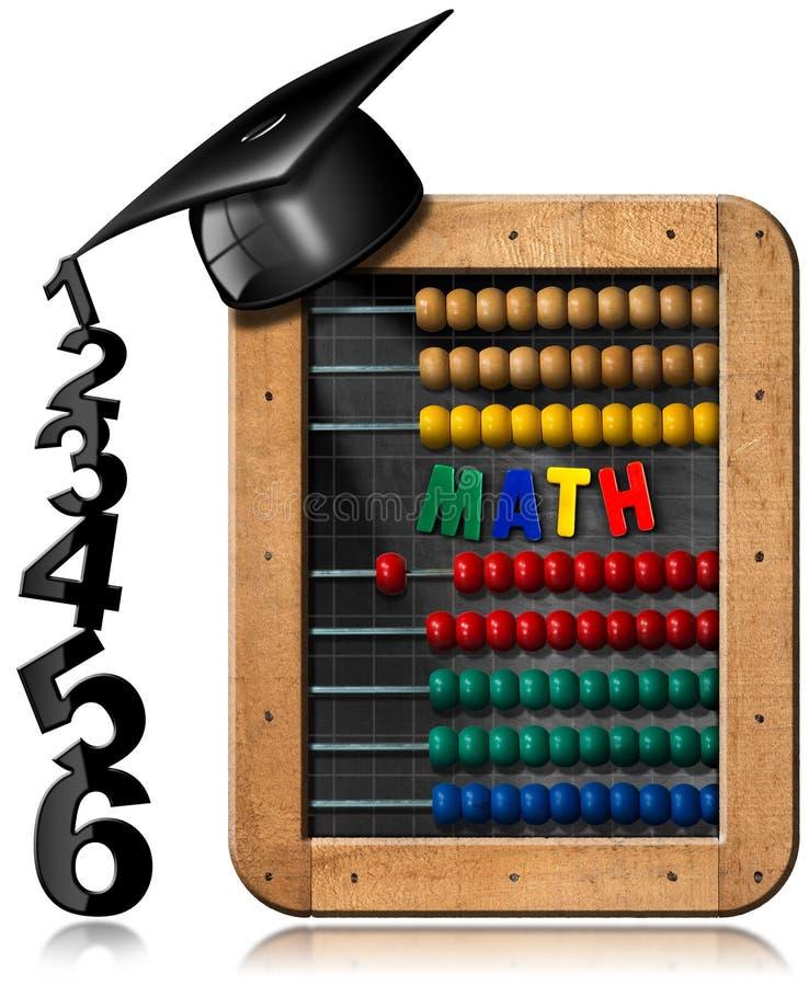 Math - πίνακας με τον άβακα και το καπέλο βαθμολόγησης διανυσματική απεικόνιση