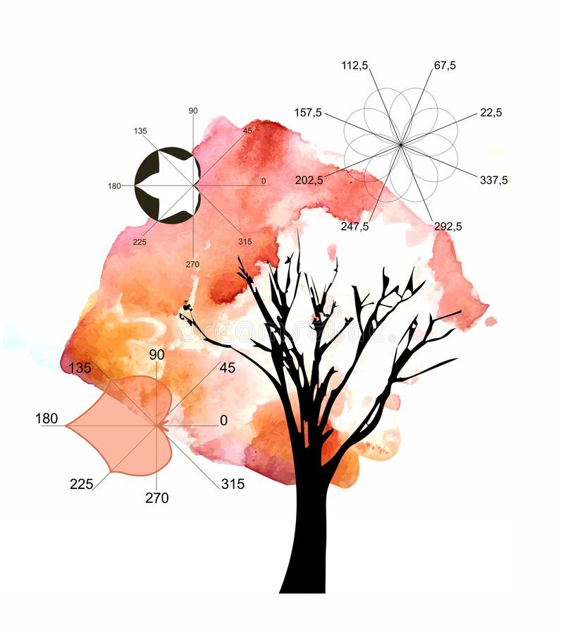 Math as art. Beautiful card with watercolor autumn tree and algebraic plots in form of linden and maple leaves. And abstract eight-petaled flower stock illustration