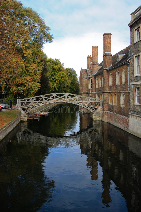 The math bridge in Cambridge University royalty free stock images
