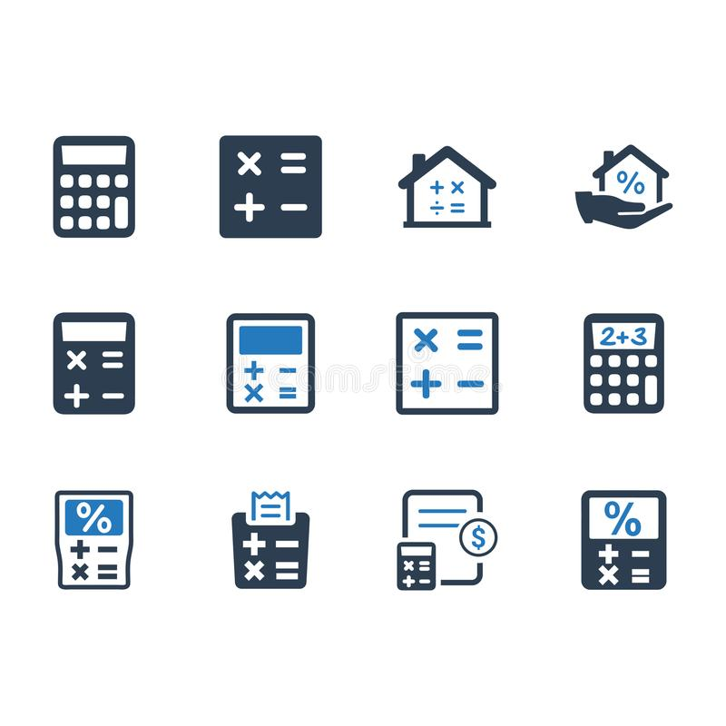 Math & Calculation Icons - Blue Version stock illustration