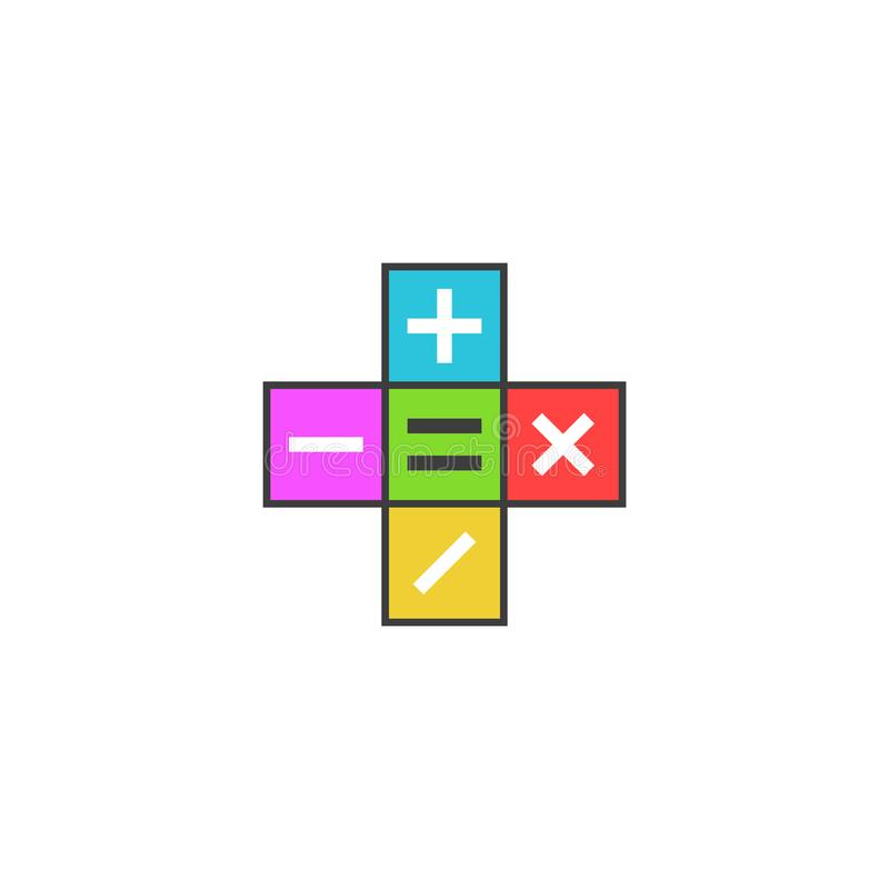 Math calculator logo, Mathematical symbols plus, minus, subtract, multiply, equals icon on the colored tiles, simple modern flat royalty free illustration