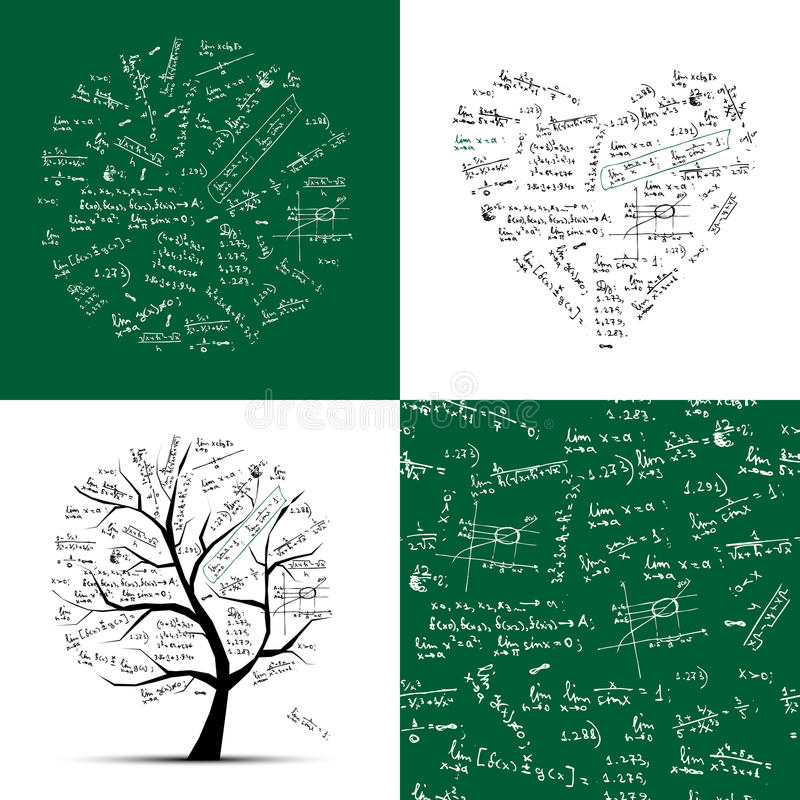 Math Collection Frame, Tree, Seamless Background Royalty Free Stock Image