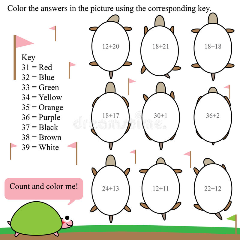 Math count color turtle. Illustration math count and color turtle white background game math kid coloring stock illustration
