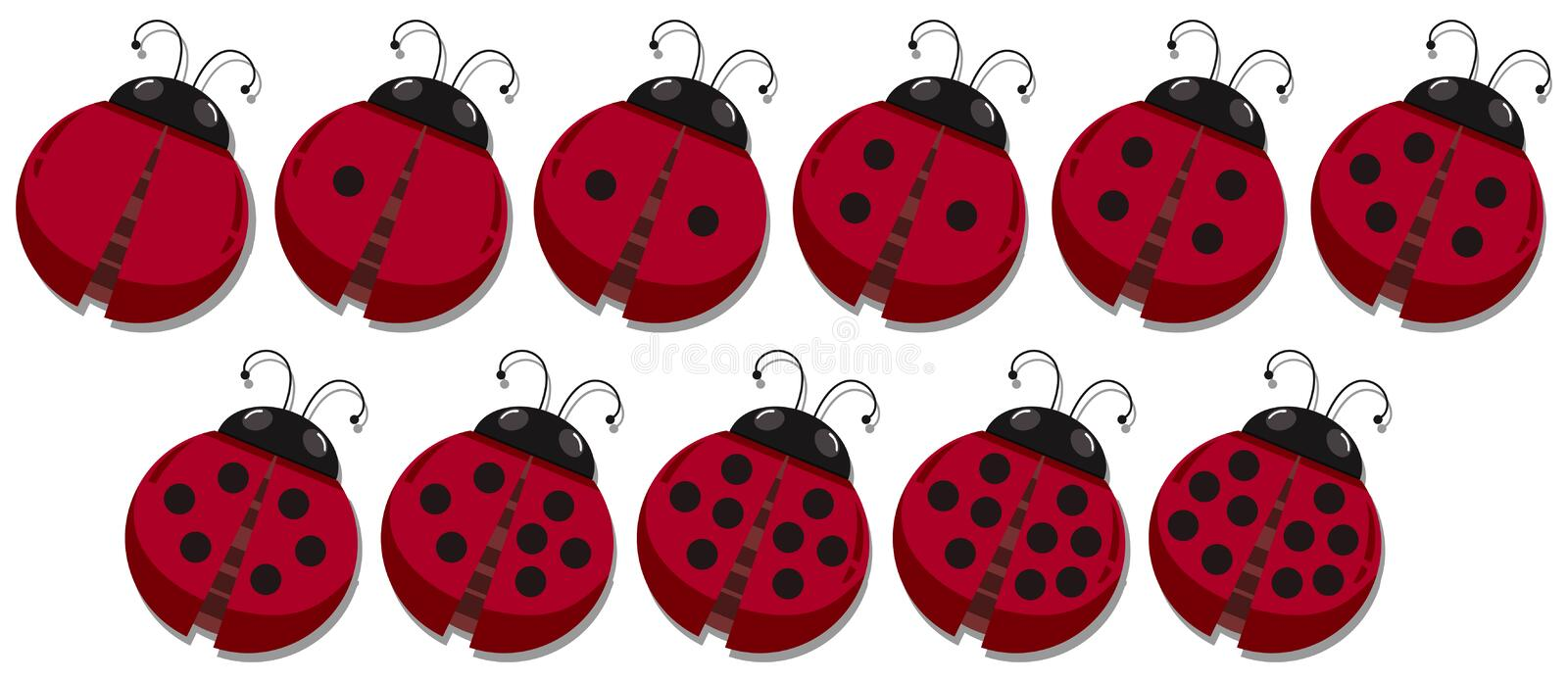 Math count ladybug spots. Illustration stock illustration