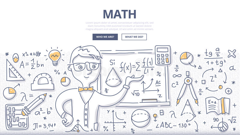 Math Doodle Concept. Doodle illustration of learning and teaching mathematics. Education concept of math science for web banners, hero images, printed materials royalty free illustration