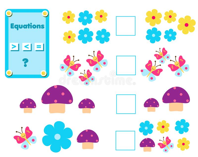 Math educational game for children. Complete the mathematical equation task, choose more, less or equal stock illustration