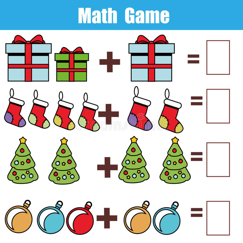 Math educational game for children. Counting equations. Addition worksheet. Christmas theme stock illustration
