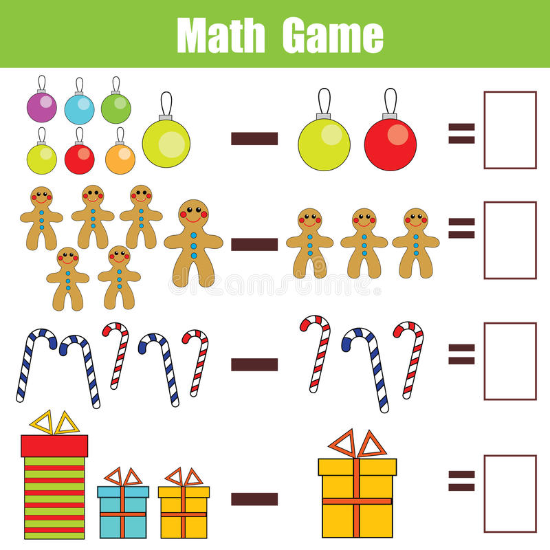 Math Educational Game For Children, Subtraction Worksheet, Christmas ...