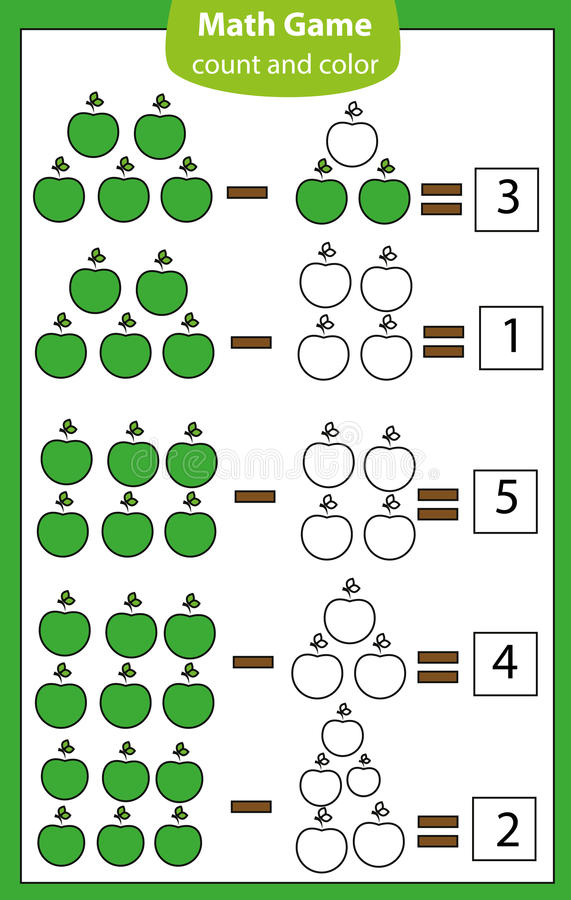 Free Math Educational Game For Children. Counting Equations. Subtraction Worksheet. Royalty Free Stock Photos - 98315748