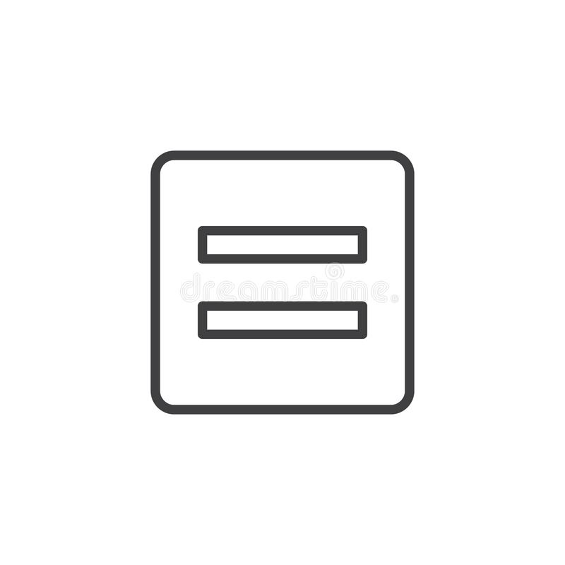 Math Equal sign outline icon vector illustration