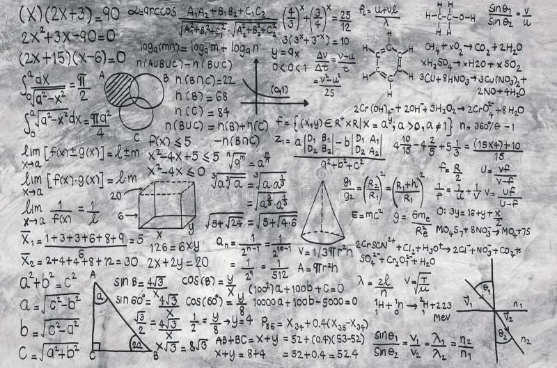 Math formula on grey background. Or education background royalty free stock images