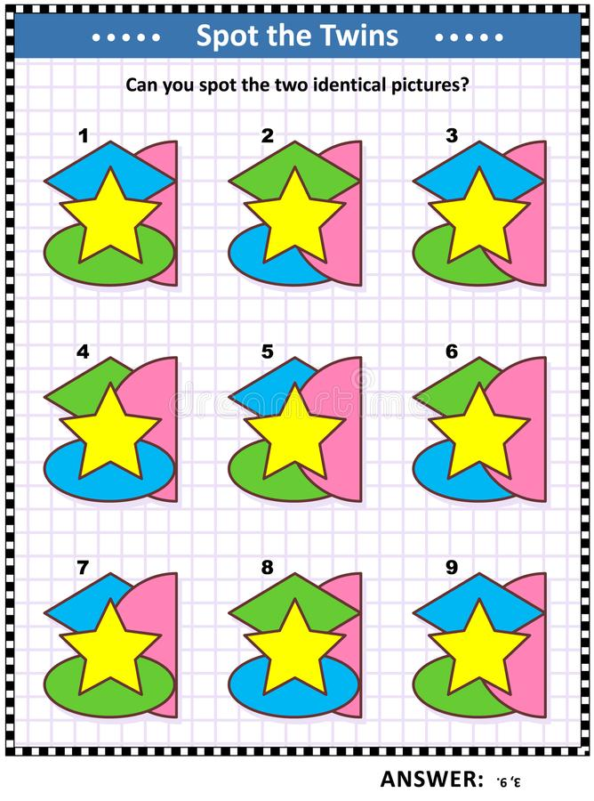 Math game with basic shapes - oval, star, semicircle, rhombus, or diamond royalty free illustration