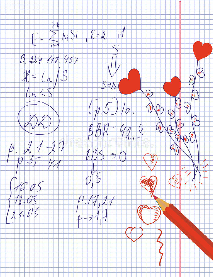 Math And Love Hearts Royalty Free Stock Photography