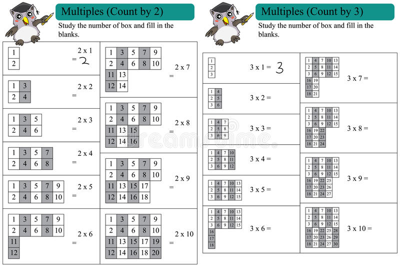 Math multiples count by 2 and 3 royalty free illustration