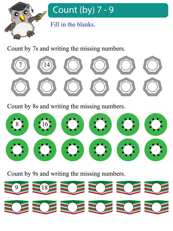 Math multiples count by 7 - 9 vector illustration