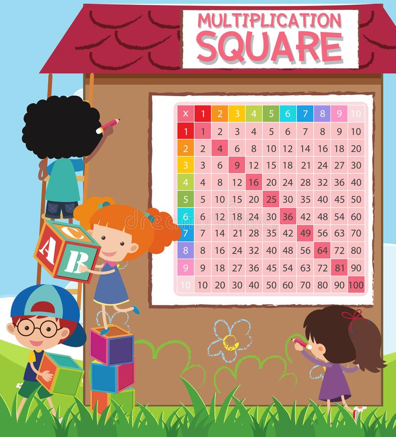 Math Multiplication Square with Students. Illustration vector illustration