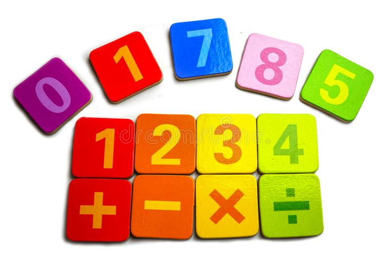 Math Number colorful : Education study mathematics learning teach concept royalty free stock photo