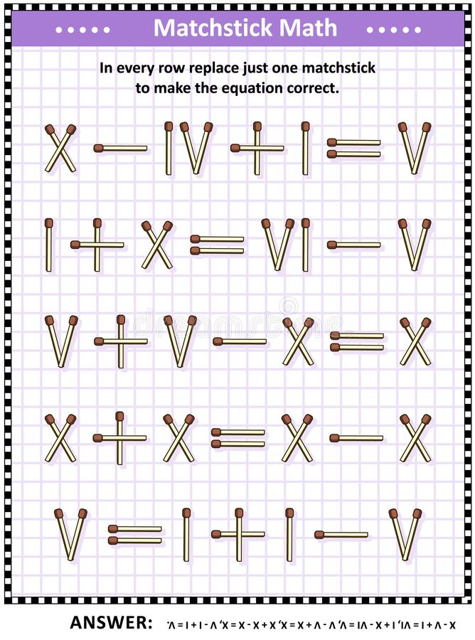Math puzzle with roman numerals and matchsticks. Math puzzle with roman numerals for adults and schoolchildren: In every row replace just one matchstick to make vector illustration