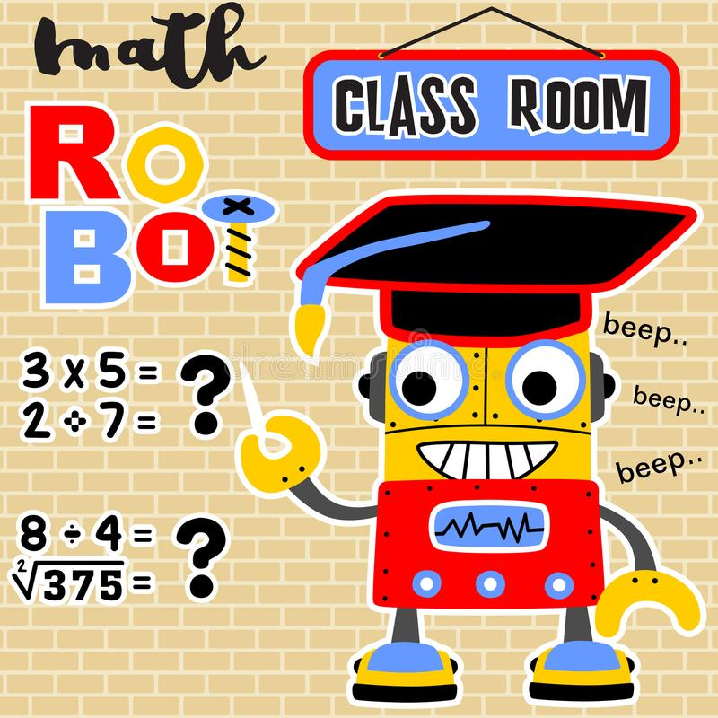 Math robot cartoon vector with bachelor hat. A little robot in the class room teaching mathematics, vector cartoon illustration, no mesh, vector on EPS 10 royalty free illustration