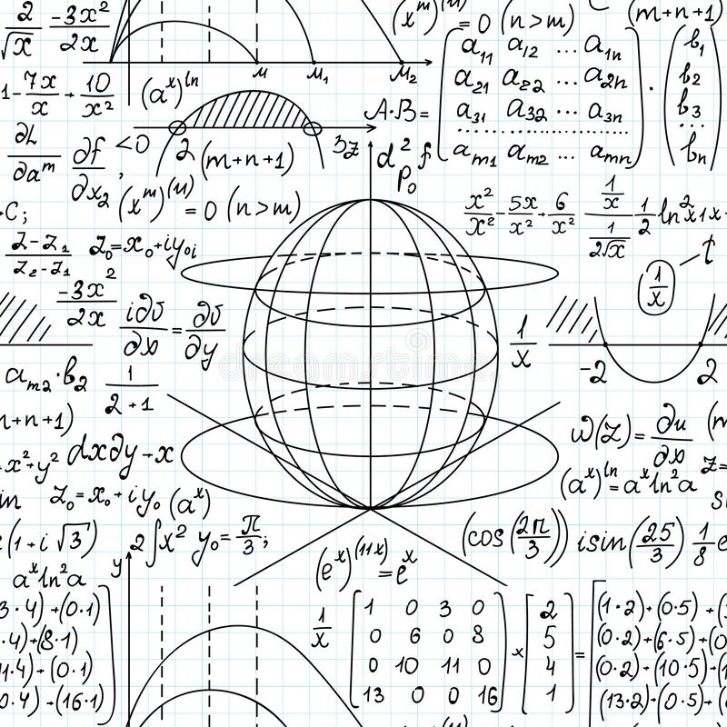 Math scientific vector seamless background with mathematical formulas, plots and equations. Handwritten on grid copybook paper stock illustration