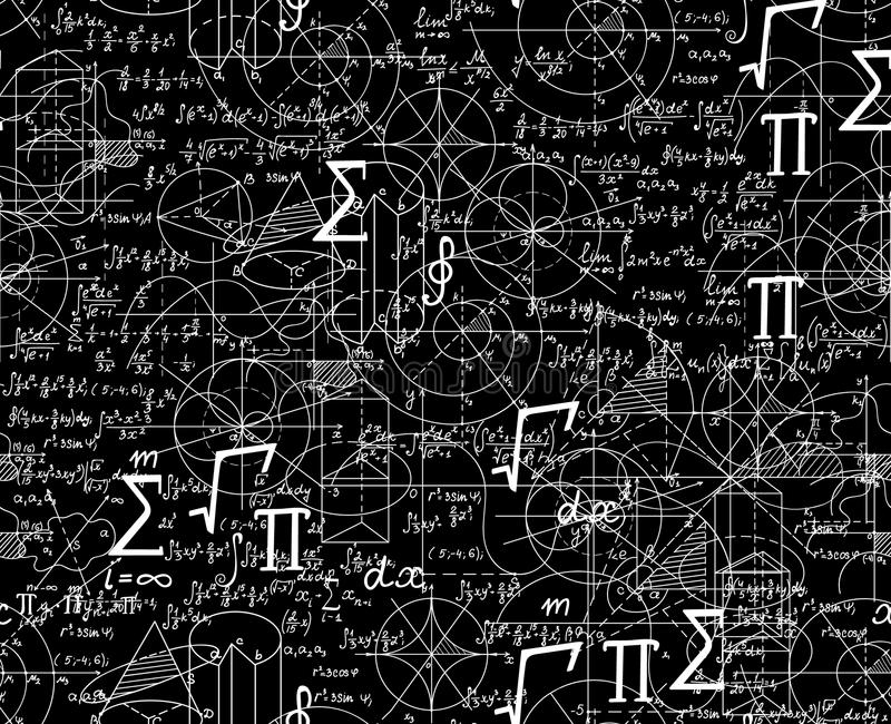 Math scientific vector seamless pattern with formulas, figures, plots shuffled together. Scientific endless texture vector illustration