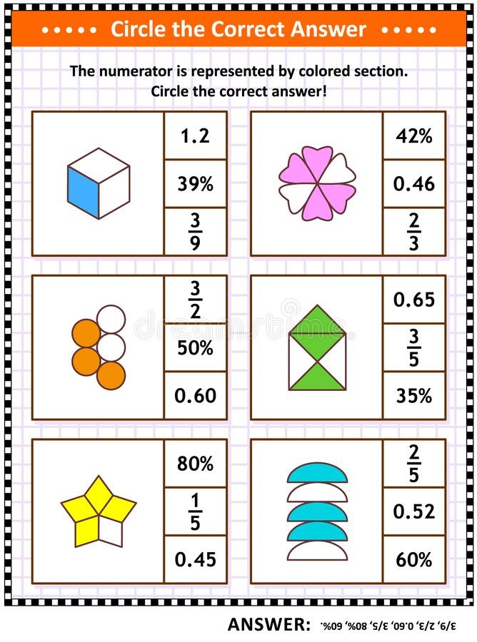 Math skills training puzzle or worksheet with visual fractions. Math skills training visual puzzle or worksheet for schoolchildren and adults. Circle the correct stock illustration