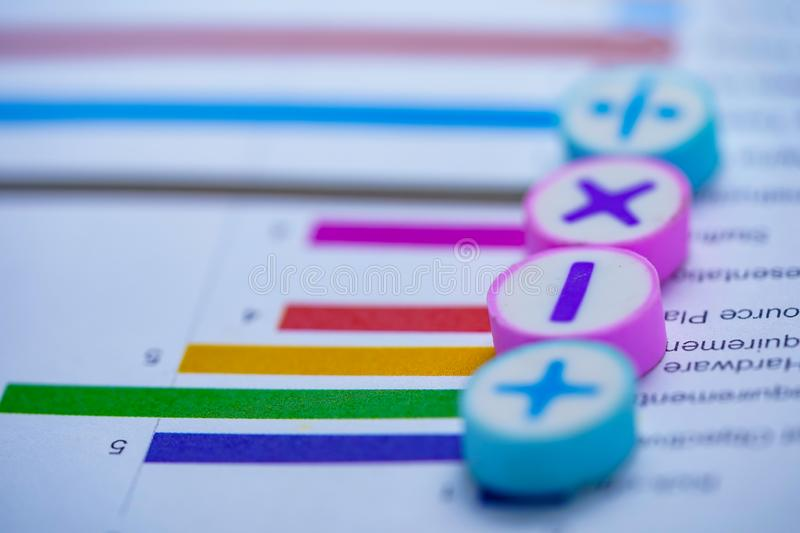 Math Symbols Charts Graphs spreadsheet. Finance Banking Account, Statistics, Investment Analytic research data economy stock image