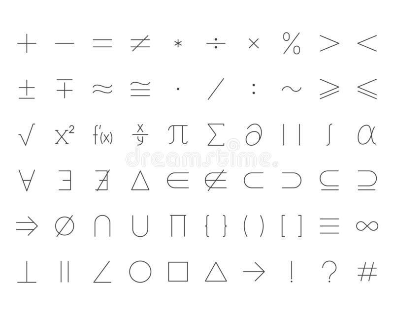 Math symbols flat line icons set. Mathematical operations plus minus, multiply, infinity, vector illustrations. Outline vector illustration