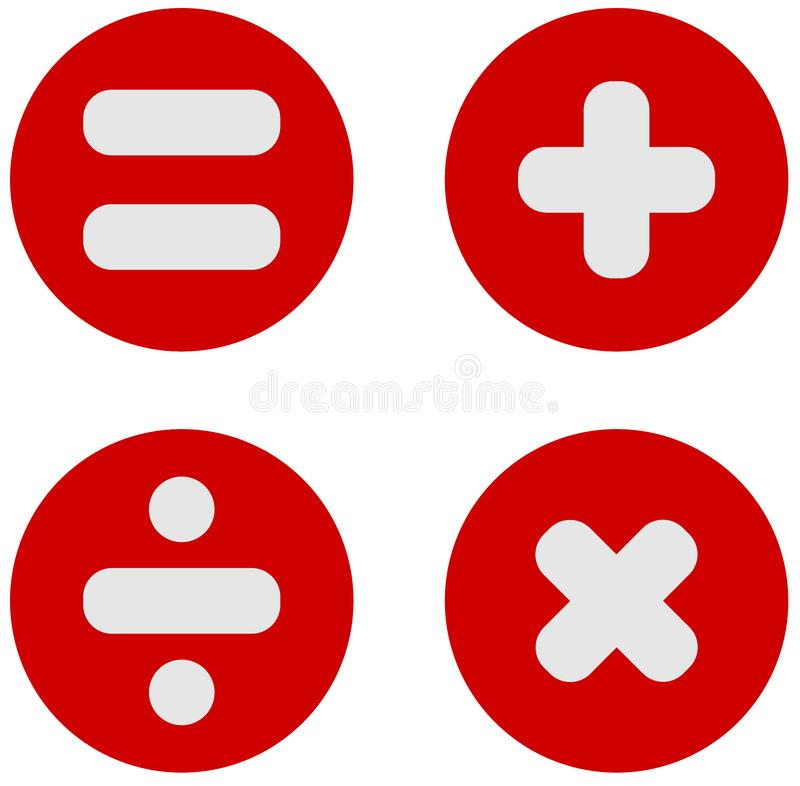 Math Symbols : Plus, Divide, Multiply, Equals PNG. Math / Mathematics Symbols : Plus, Divide, Multiply, Equals PNG Illustration stock illustration