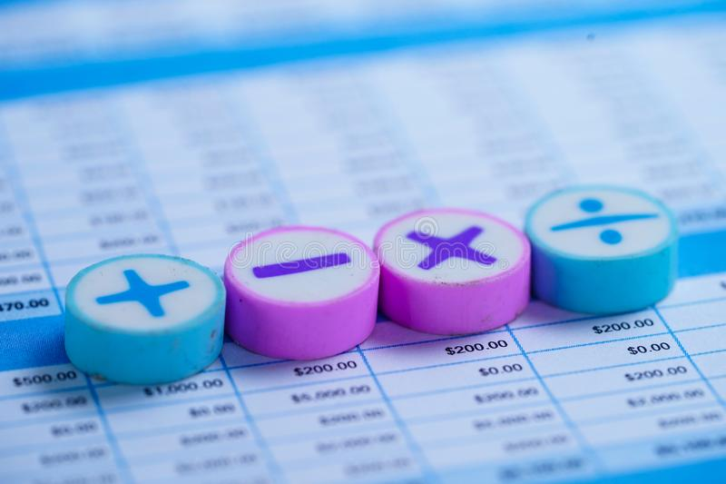 Math Symbols on spreadsheet paper. Finance Banking Account, Statistics, Investment Analytic research data. Economy, Stock exchange trading, Mobile office stock image
