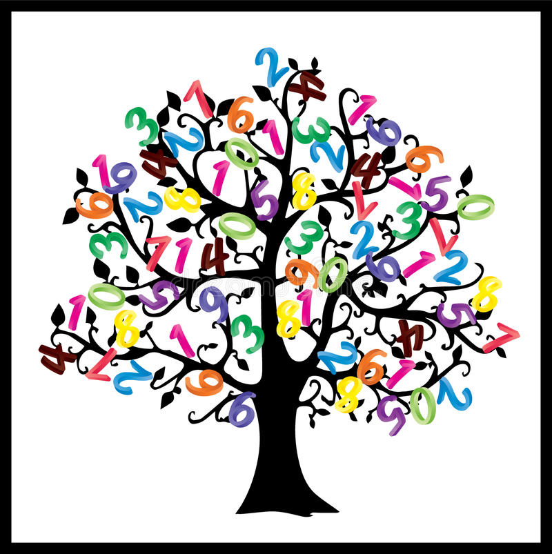 Math tree. Digits illustration isolated on white background. vector illustration