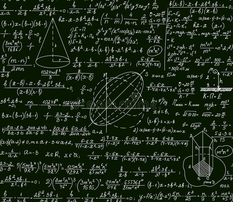 Math vector scientific technical seamless pattern with handwritten formulas, calculations, plots, signs, equations vector illustration